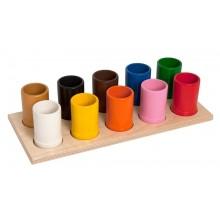 Platte mit 10 farbigen Stiftköchern