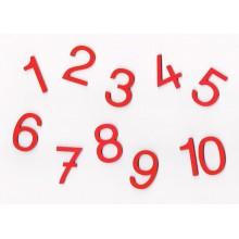 Ausgesägte rote Ziffern Druckschrift