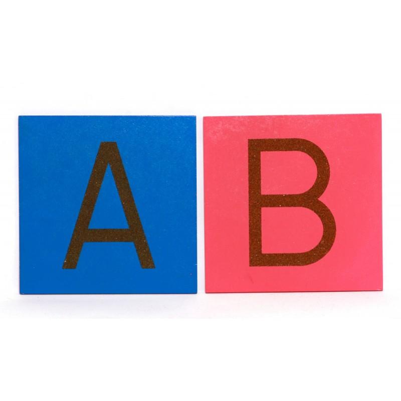Sandpapierbuchstaben groß DS Rosa/Blau SET in BOX