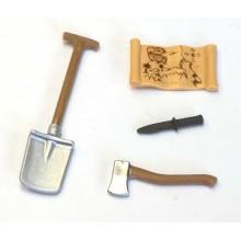 Werkzeug und Schatzkarte