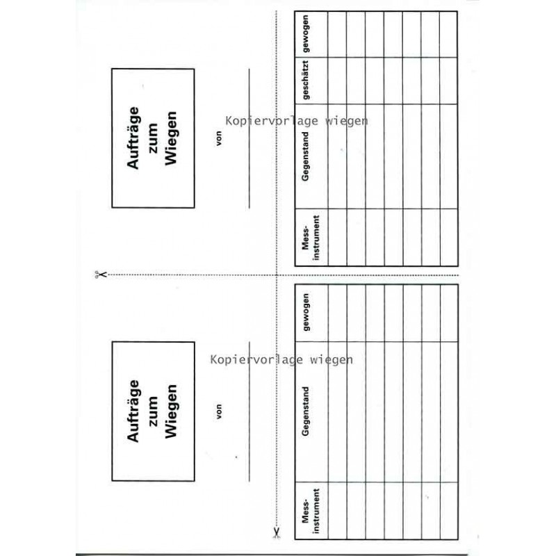 Kopiervorlage zum Wiegen •